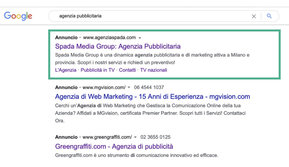 Spada Media Group: Campagne Search Google Ads